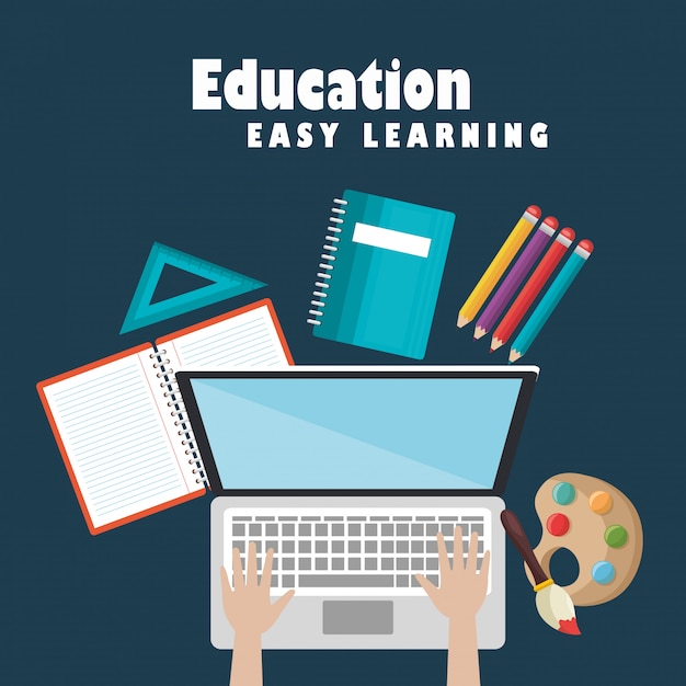 Laptop with education easy e-learning icons Free Vector