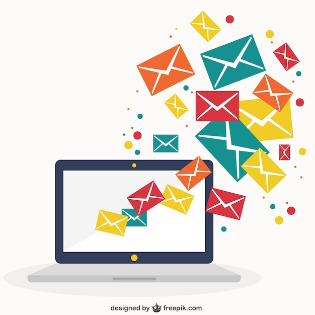 Laptop with emails Free Vector