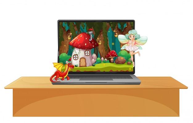 Computer portatile con scena fata su sfondo del desktop Vettore gratuito