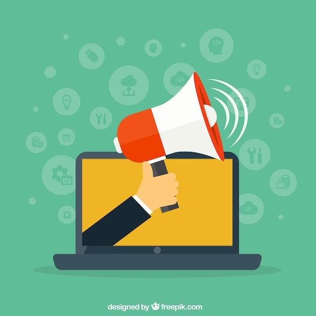 Laptop with a megaphone Free Vector