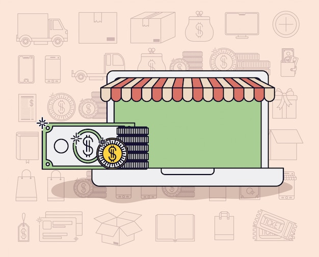 Laptop with parasol and ecommerce icons vector illustration design Premium Vector