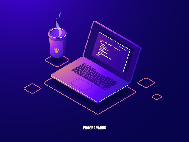 Laptop with program code isometric icon, software development and programming applications dark neon Free Vector