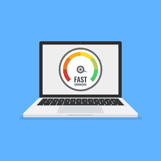 Laptop with speed test on the screen. Premium Vector