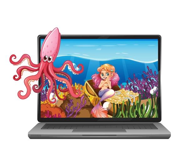 Computer portatile con scena subacquea sullo schermo Vettore gratuito