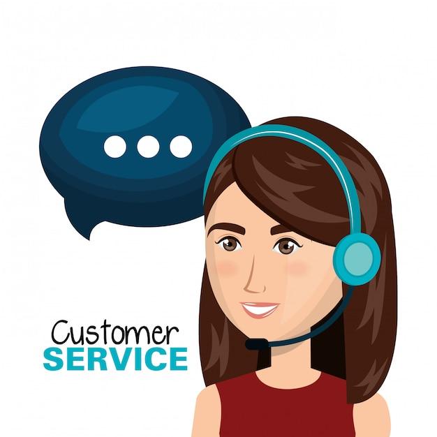 Laptop woman customer service call center design Premium Vector