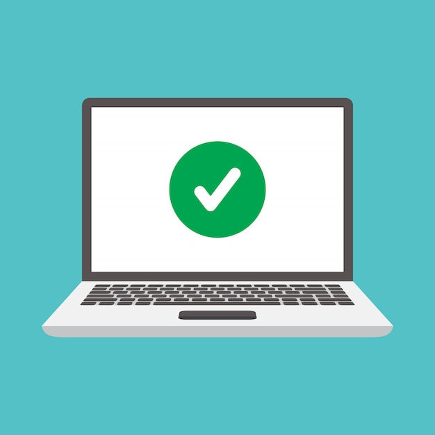 Laptops and check marks Premium Vector