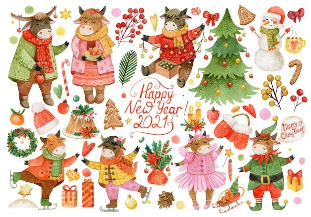 水彩の雄牛、冬の服、クッキー、カップケーキ、クリスマスツリー、みかん、キャンドル、雪だるま、松ぼっくりの大きなクリスマスセット Premiumベクター