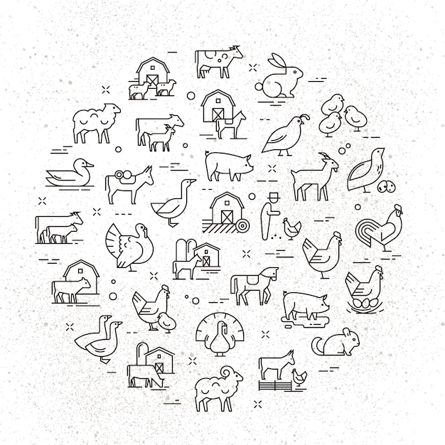 Large circular vector icon set of rural animals in linear style Premium Vector