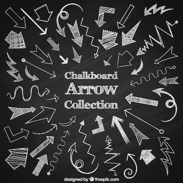 Large collection of arrows drawn with chalk Free Vector