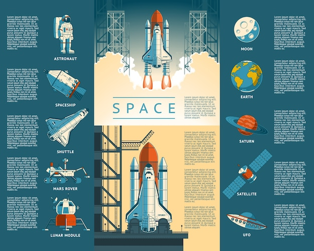 Large collection icons of space Free Vector