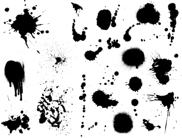 Large collection of detailed ink splats Free Vector