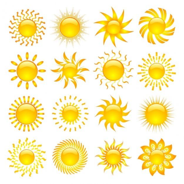 Большая коллекция различных иконок солнца Бесплатные векторы