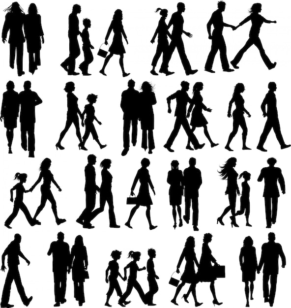 Large collection of silhouettes of people walking Free Vector