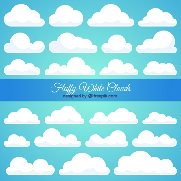 Large collection of white cloud Free Vector