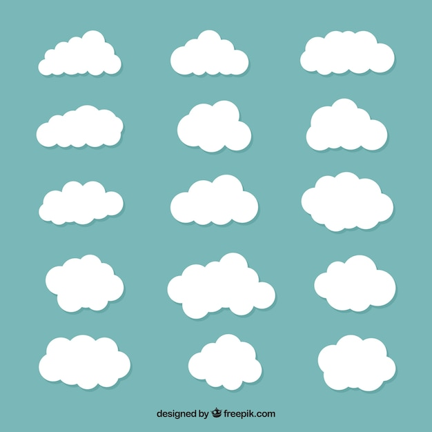 Large collection of white clouds Free Vector