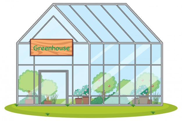 Large greenhouse with plants Free Vector