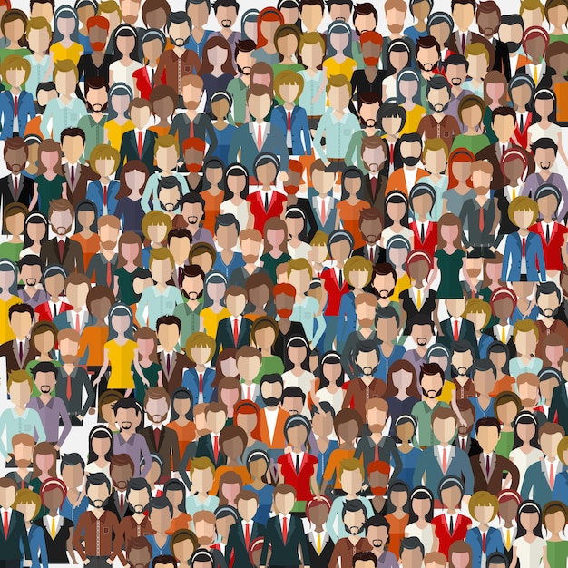 Large group of business people Premium Vector