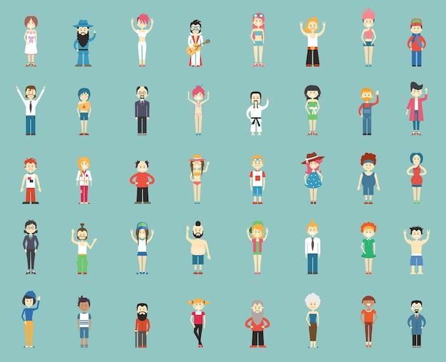 Большая группа мультипликационных людей, векторные иллюстрации Бесплатные векторы