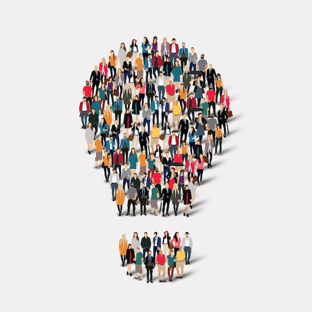 A large group of people in the form of lamp . Premium Vector