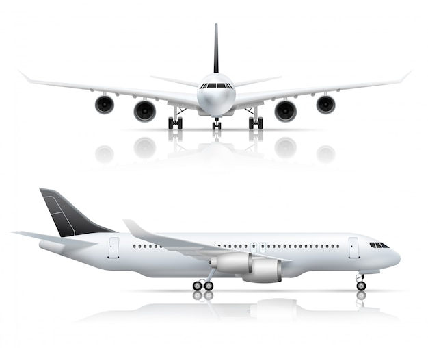 Large passenger jet airliner front and side airplane view Free Vector
