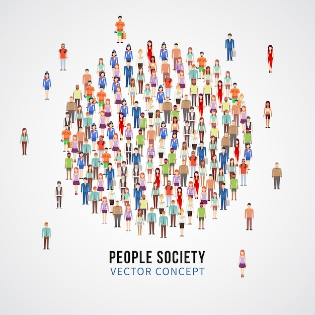 Large people crowd in circle shape. society, people community vector concept Premium Vector