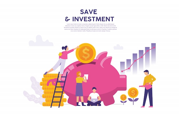 A large pig savings as a concept of saving and business investment Premium Vector
