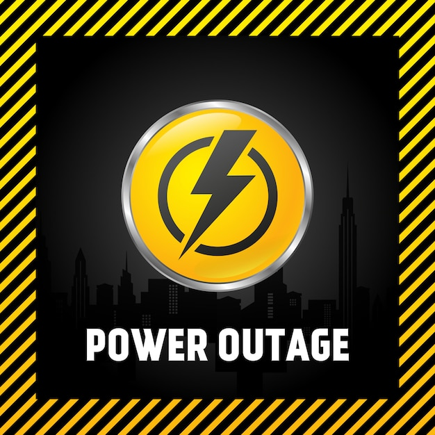 Large power off button, warning poster in yellow and black. 3d style. Premium Vector