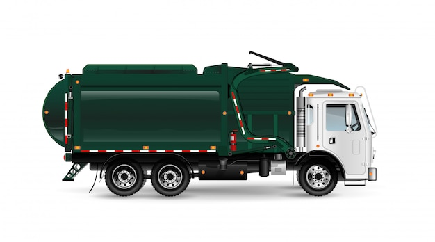 Large and powerful garbage truck in dark green. frontal loading of containers. for an article about cleaning up or removing trash. on white background. Premium Vector