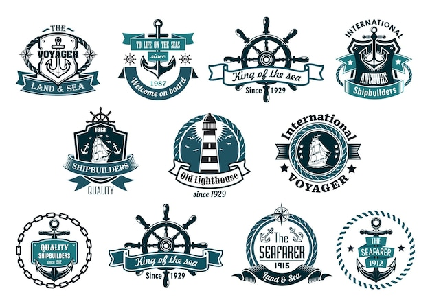 Large retro set of dark blue marine labels, logo and emblems with anchors, wheels, sailboats, lighthouse, ribbon banners, ropes, chains and stars Premium Vector