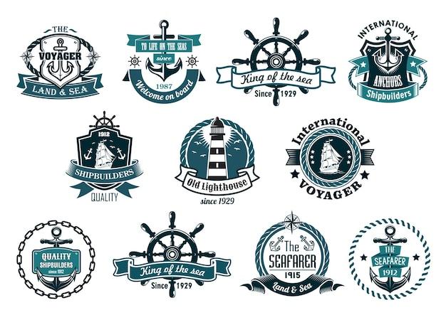 紺色の海洋ラベル、ロゴ、アンカー、ホイール、ヨット、灯台、リボンバナー、ロープ、チェーン、星が付いたエンブレムの大規模なレトロなセット Premiumベクター