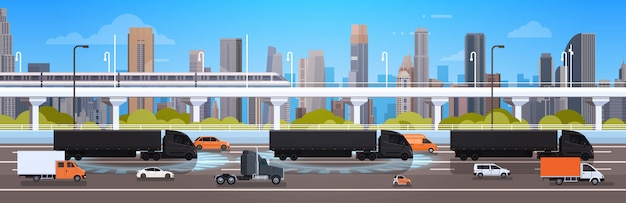 Large semi truck with trailers on highway road with cars and lorry over city landscape shipment Premium Vector