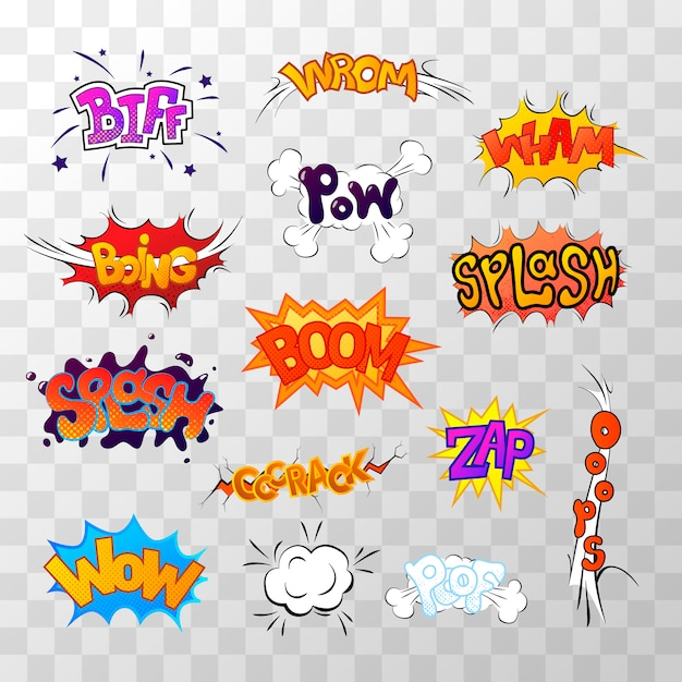 Large set of bright multi colored comic sound effects Premium Vector