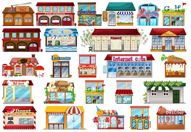 Large set of buildings Free Vector