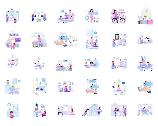 A large set of business scenes of characters in communication in the office and at home. Premium Vector