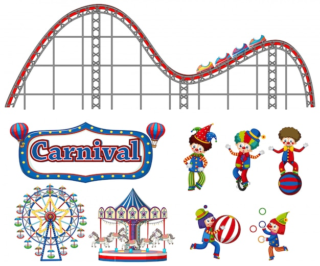 Large set of carnival items and clowns on white Free Vector
