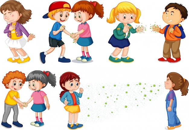 Large set of children spreading virus from touching and talking Free Vector