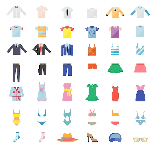 Large set of clothes for men and women. fashion icons. vector illustration Free Vector