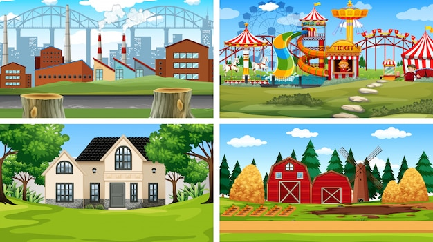 Large set of different scenes background Free Vector