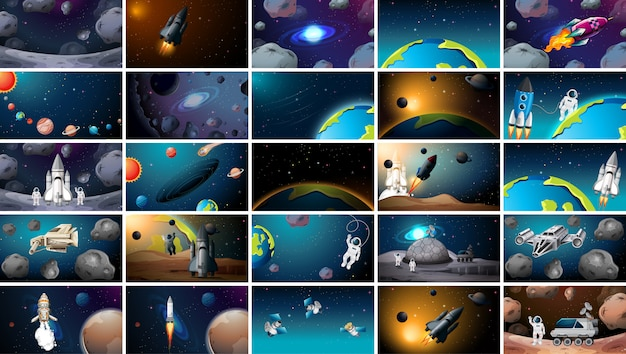 Large set of different space scenes Free Vector
