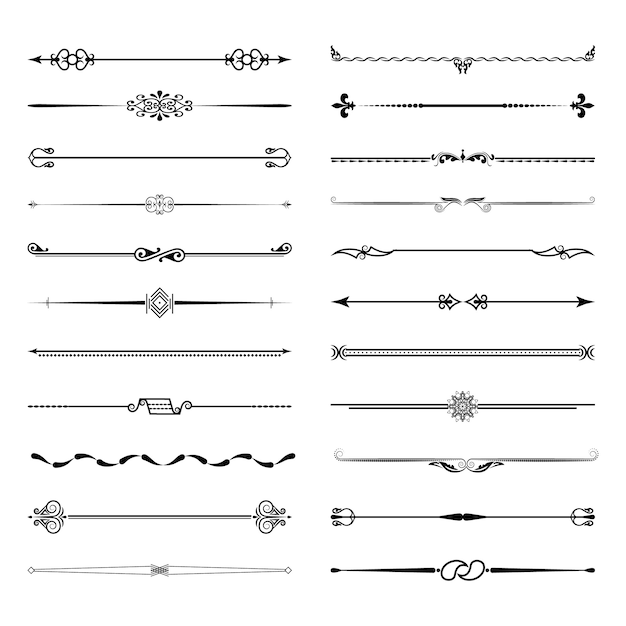 A large set of dividers Premium Vector