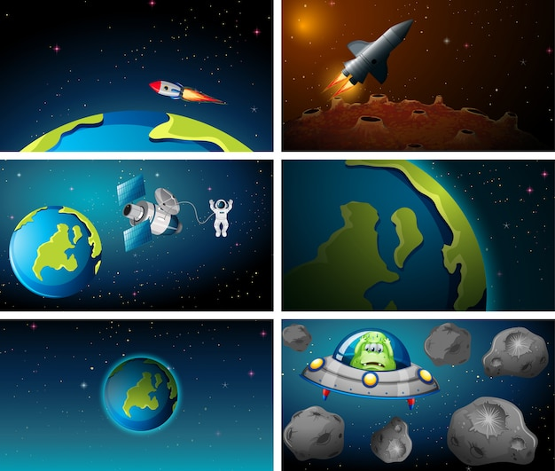 Large set of earth and rocket scene Free Vector