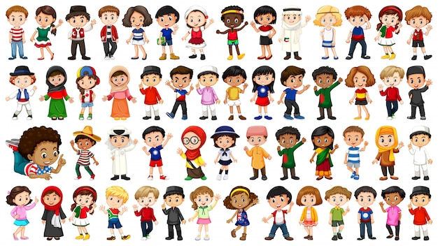 Large set of ethnical people Free Vector