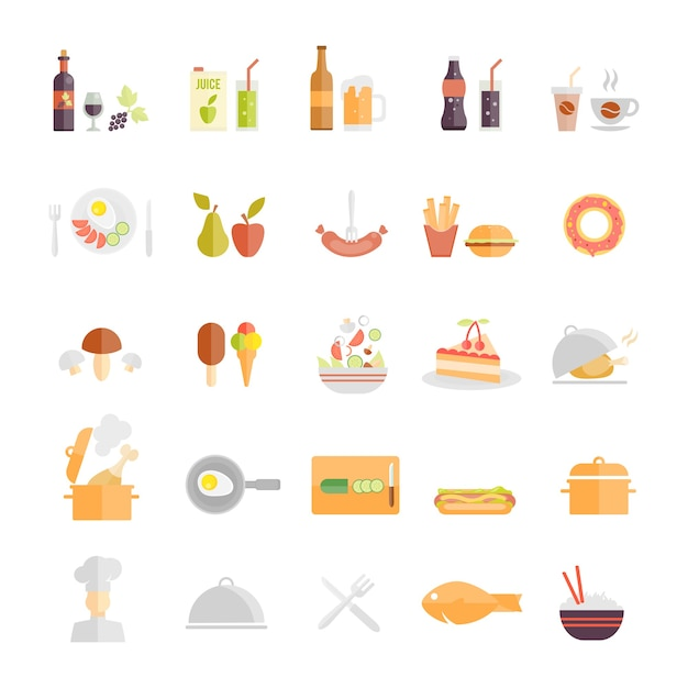 Large set of food and beverage icons Free Vector