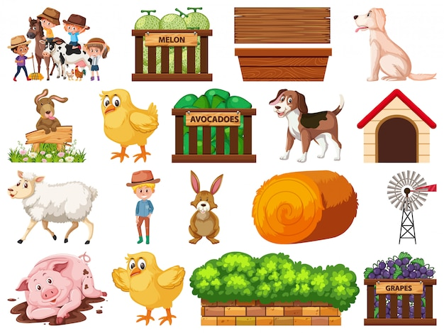 Large set of isolated farm objects Premium Vector