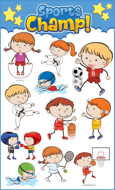 Large set of kids playing different sports Premium Vector