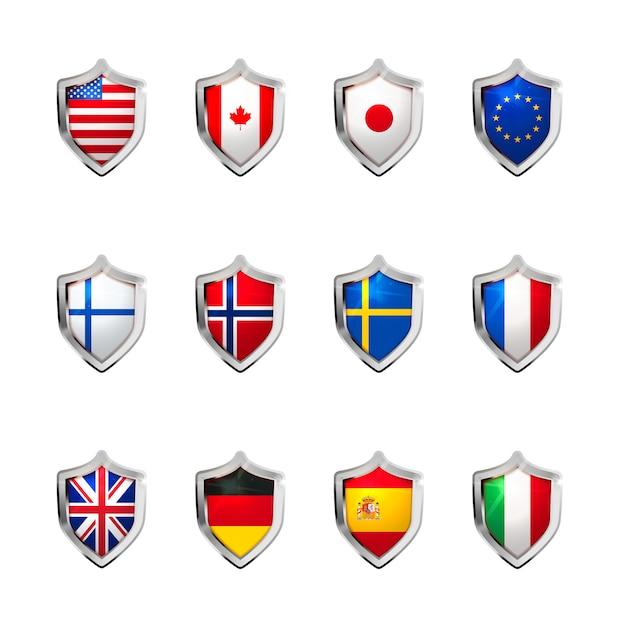 Большой набор флагов суверенных государств, спроектированных в виде глянцевого щита на белом фоне Premium векторы
