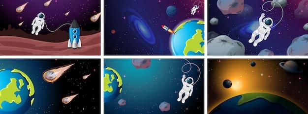 Большой набор иллюстраций космических сцен Бесплатные векторы