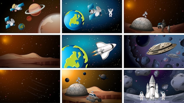 Large set of space scenes or background Free Vector