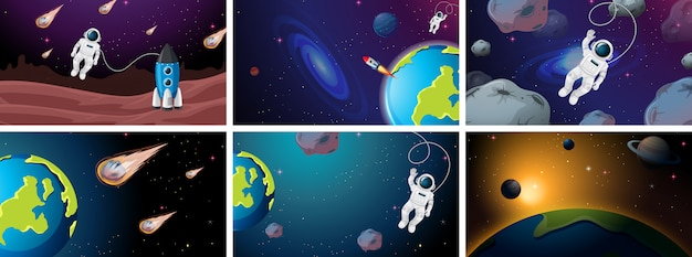 Large set of space scenes illustrations Free Vector