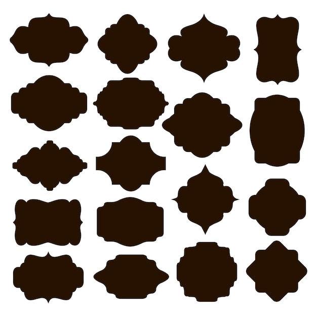 Large set of vector black silhouette frames or cartouches for badges in ornate classical curved and rounded symmetrical designs and shapes Free Vector